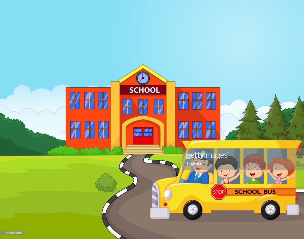 Cartoon a school bus and kids infront of school