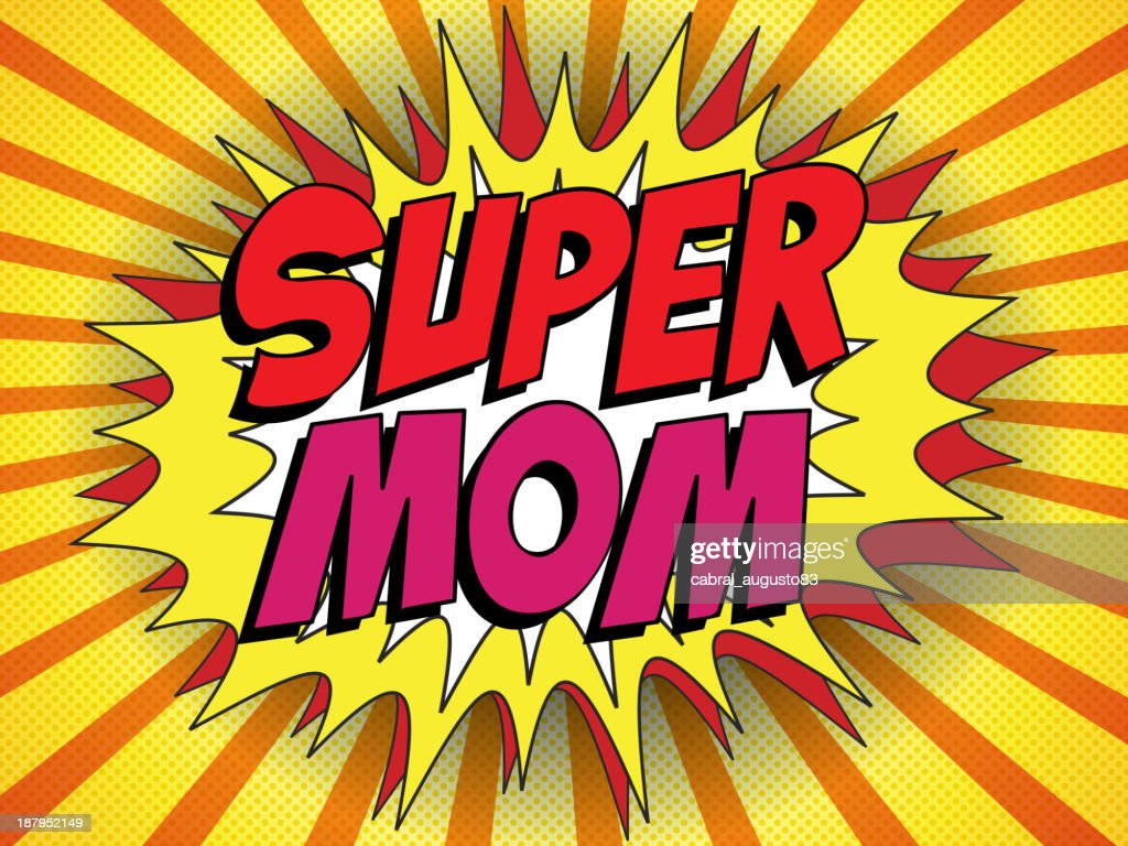 Cartoon action bubble in red and yellow saying super mom