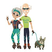 Cartoon active old couple, man and woman doing sport