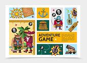 Cartoon Adventure Game Infographic Template