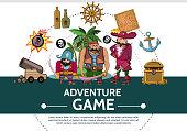 Cartoon Adventure Game UI Elements Composition