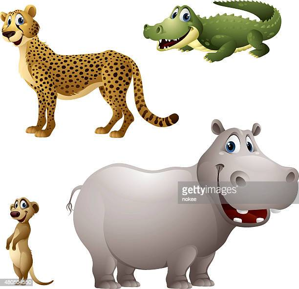cartoon africa animal set - cheetah, alligator, meerkat, hippopotamus - alligator stock illustrations, clip art, cartoons, & icons