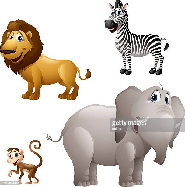 Cartoon africa animal set - lion, zebra, monkey, elephant