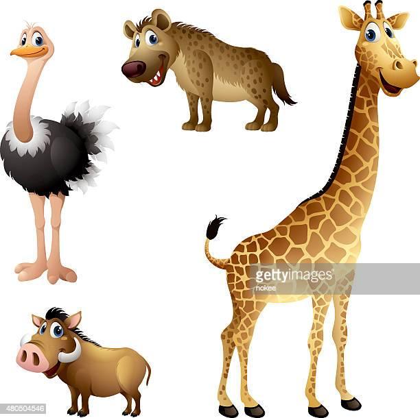 Cartoon africa animal set - ostrich, hyena, warthog, giraffe