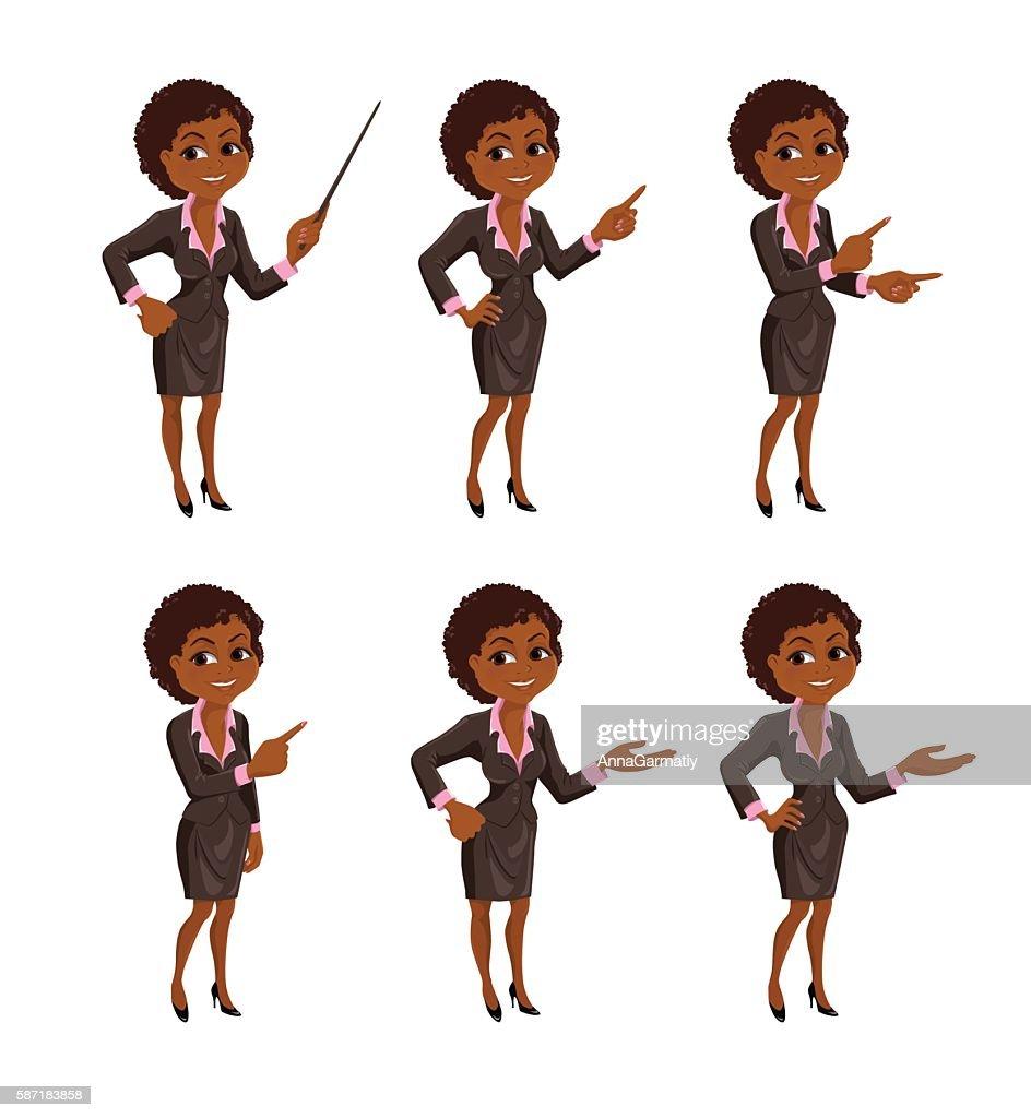 Cartoon African American business woman presentation set