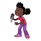 Cartoon African American girl singing with a microphone