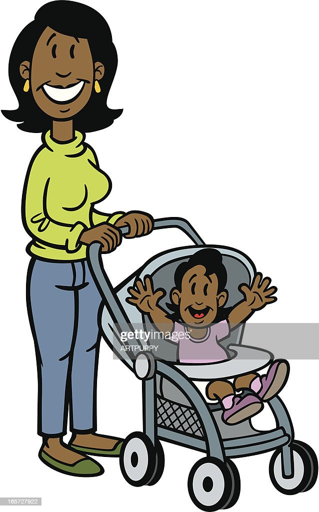 Cartoon African American Mom With Baby