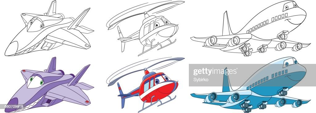 cartoon airplanes set