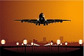 A cartoon airstrip with a large jet plane landing at sunset