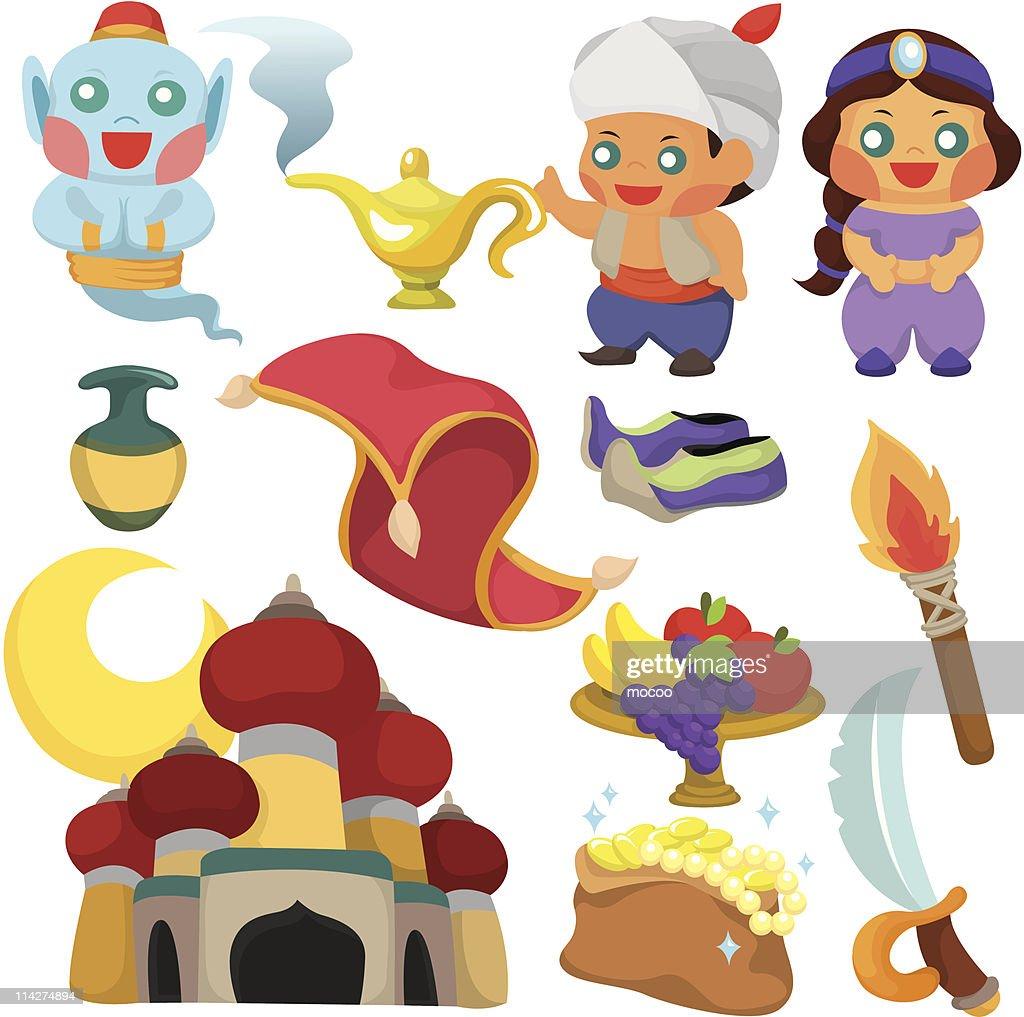 cartoon Aladdin's lamp story icon set