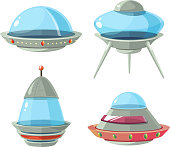 Cartoon alien spaceship, spacecrafts and ufo vector set