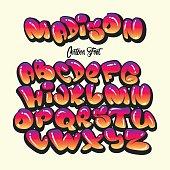 Cartoon alphabet in the style of comics. graffiti