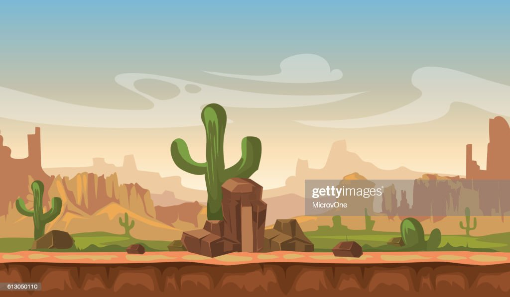 Cartoon america prairie desert landscape with cactus, hills and mountains