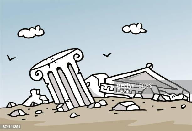 Cartoon ancient ruins