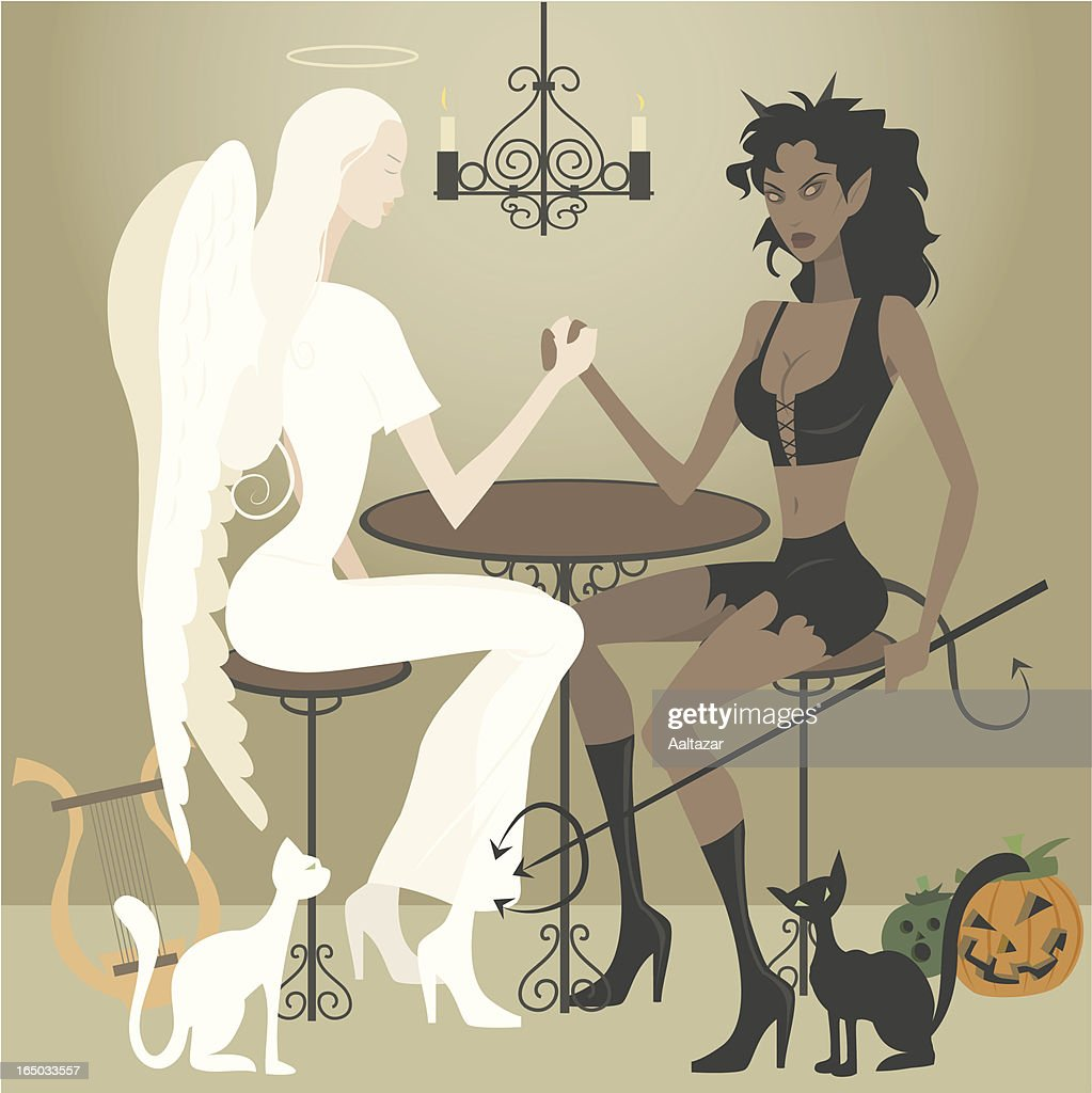 Cartoon Angel and Demon Arm Wrestling at Table