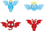 Cartoon angel and devil icons on white background