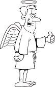 Cartoon angel giving thumbs up.