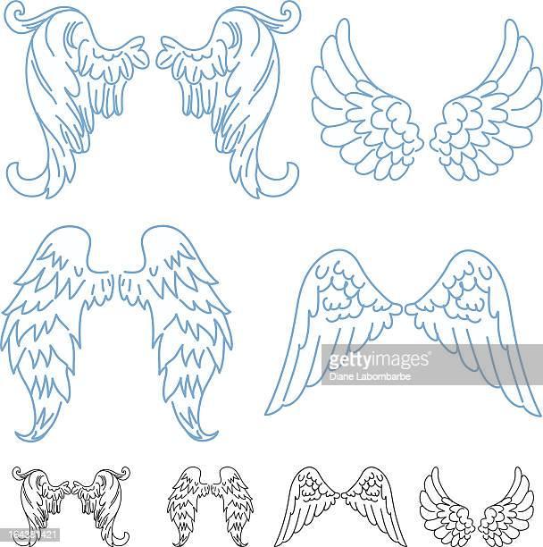 ilustraciones, imágenes clip art, dibujos animados e iconos de stock de historieta alas de angel - alas de angel