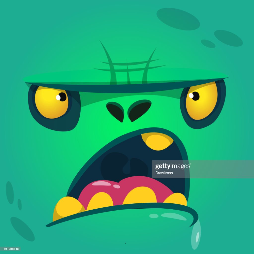 Cartoon angry and funny zombie face. Vector zombie monster square avatar