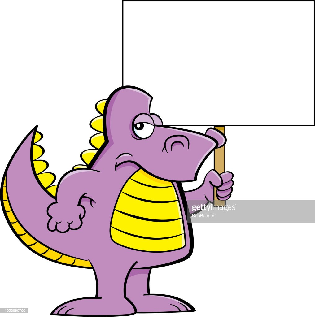 Cartoon angry dinosaur holding a sign.