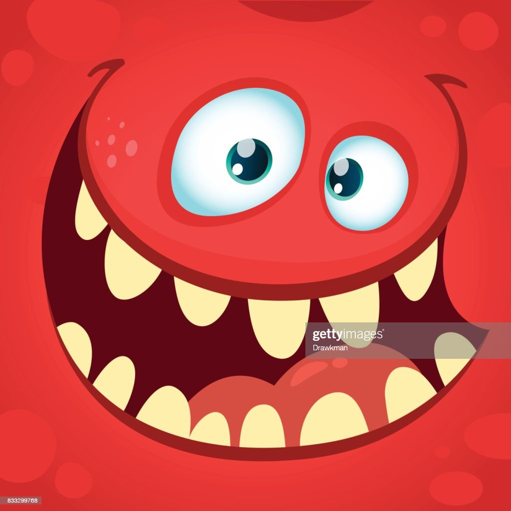 Cartoon angry monster face. Halloween vector illustration