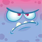 Cartoon angry monster face. Vector Halloween blue monster emotion avatar