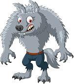 Cartoon angry werewolf character