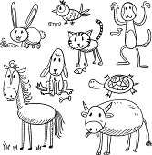 Cartoon animal characters in black and white