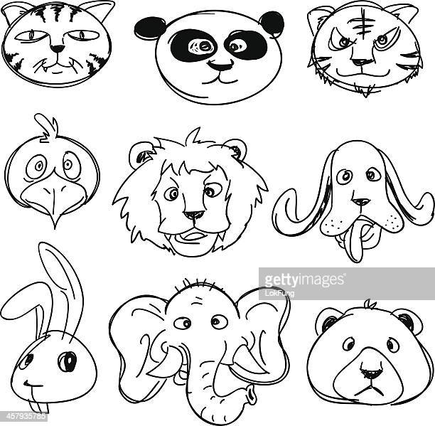 Cartoon Animal head collection in Black and White