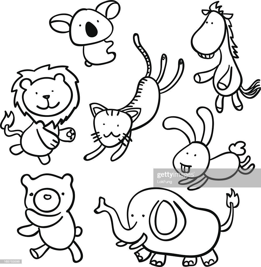 Cartoon animal in black and white