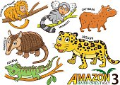 cartoon Animals and birds in the Amazon