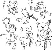 Cartoon animals are playing music