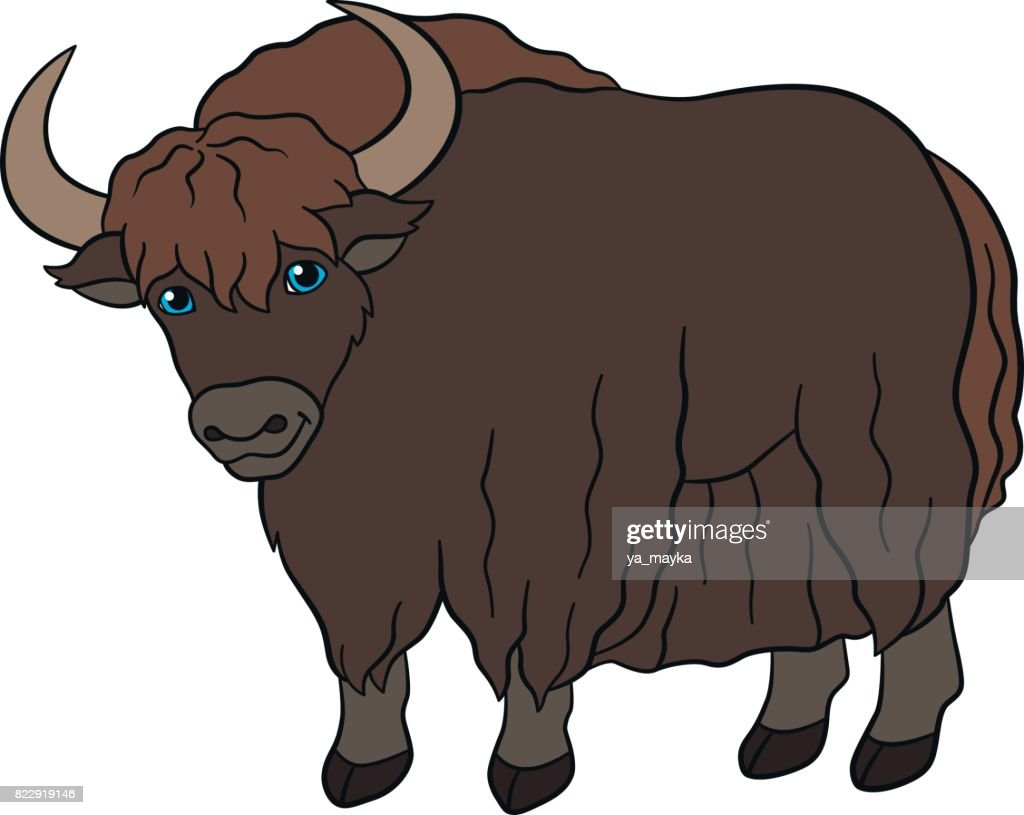 Cartoon animals. Cute beautiful yak smiles.