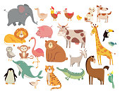 Cartoon animals. Cute elephant and lion, giraffe and crocodile, cow and chicken, dog and cat. Farm and savanna animals vector set