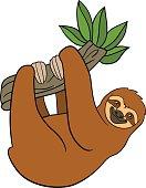 Cartoon animals. Cute lazy sloth hangs on the tree.