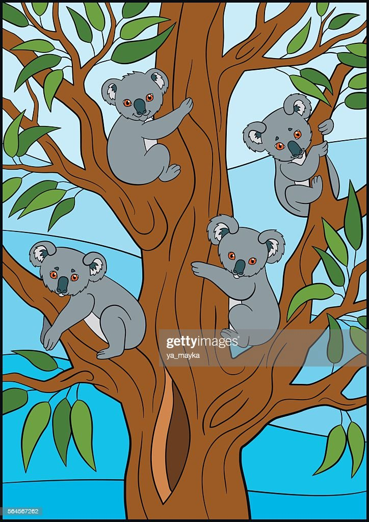 Cartoon animals. Four little cute koala babies.