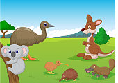 Cartoon Animals in Australian Outback