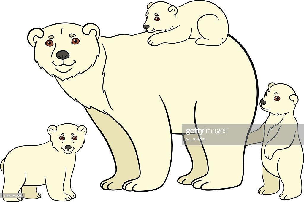Cartoon animals. Mother polar bear with her babies.