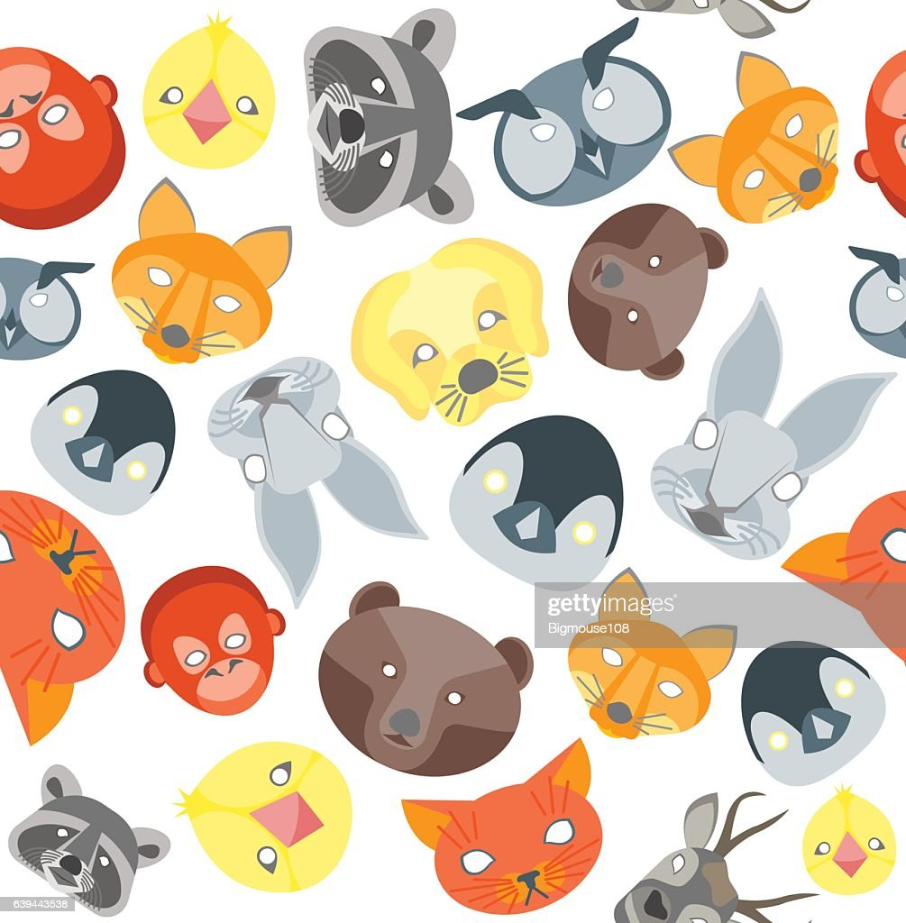 Cartoon Animals Party Mask Background Pattern. Vector