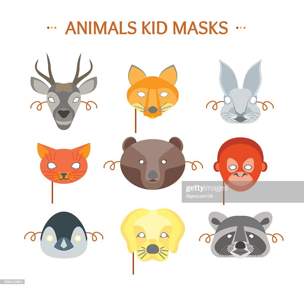 Cartoon Animals Party Mask Set for Kid. Vector