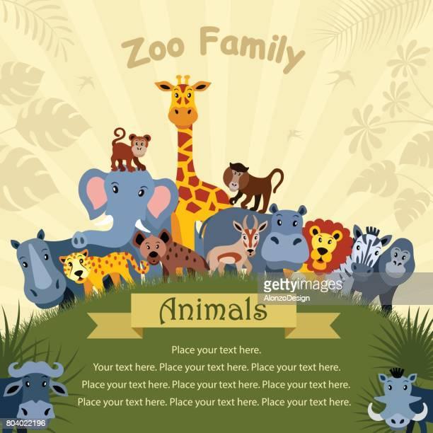 cartoon animals poster - mandrill stock illustrations, clip art, cartoons, & icons