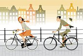 Cartoon animated couple on a city bike ride
