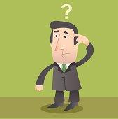 Cartoon animation of confused businessman
