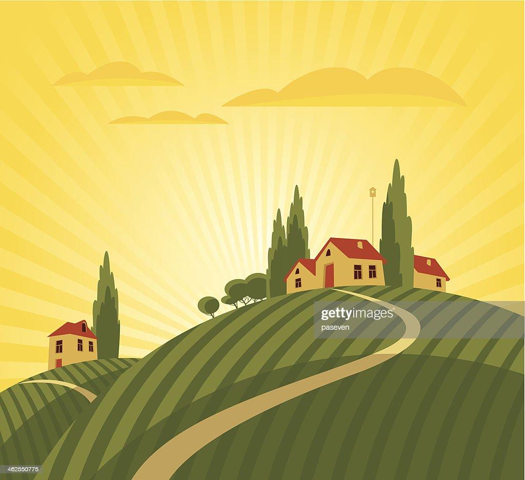Cartoon animation of farmhouse and vineyard
