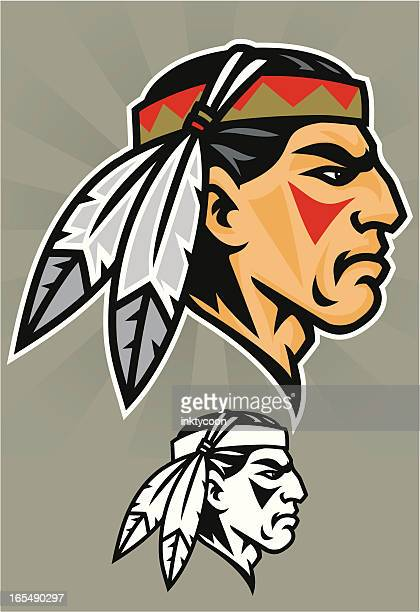 cartoon animation of indian brave mascot - indigenous north american culture stock illustrations, clip art, cartoons, & icons