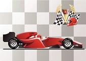 Cartoon animation of red Formula 1 race car