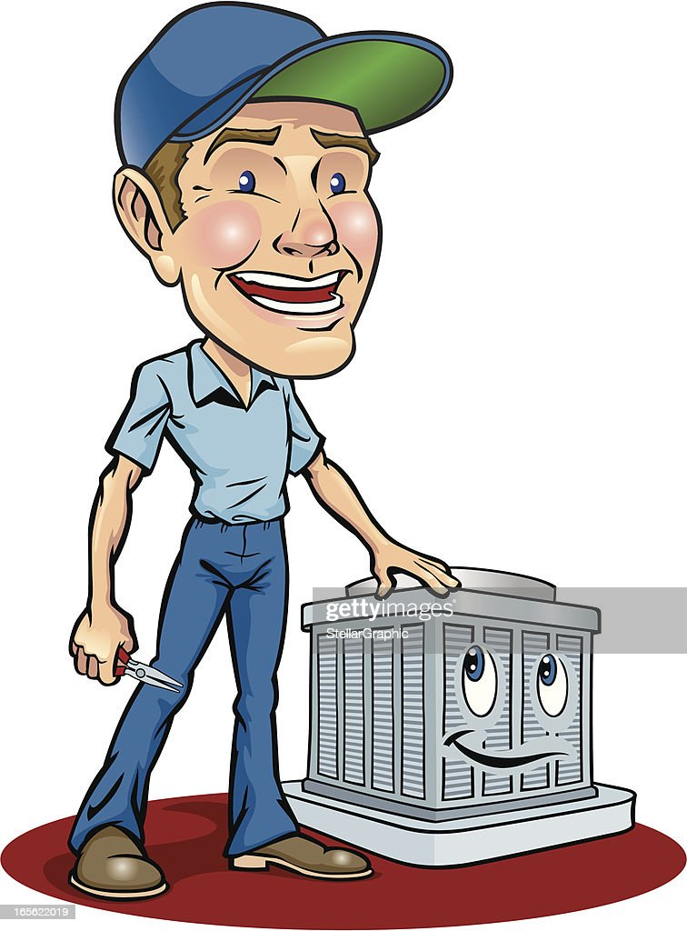 Cartoon Animation Of Serviceman Fixing Air Conditioning