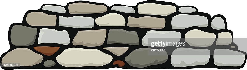 Cartoon animation of stacked stone wall