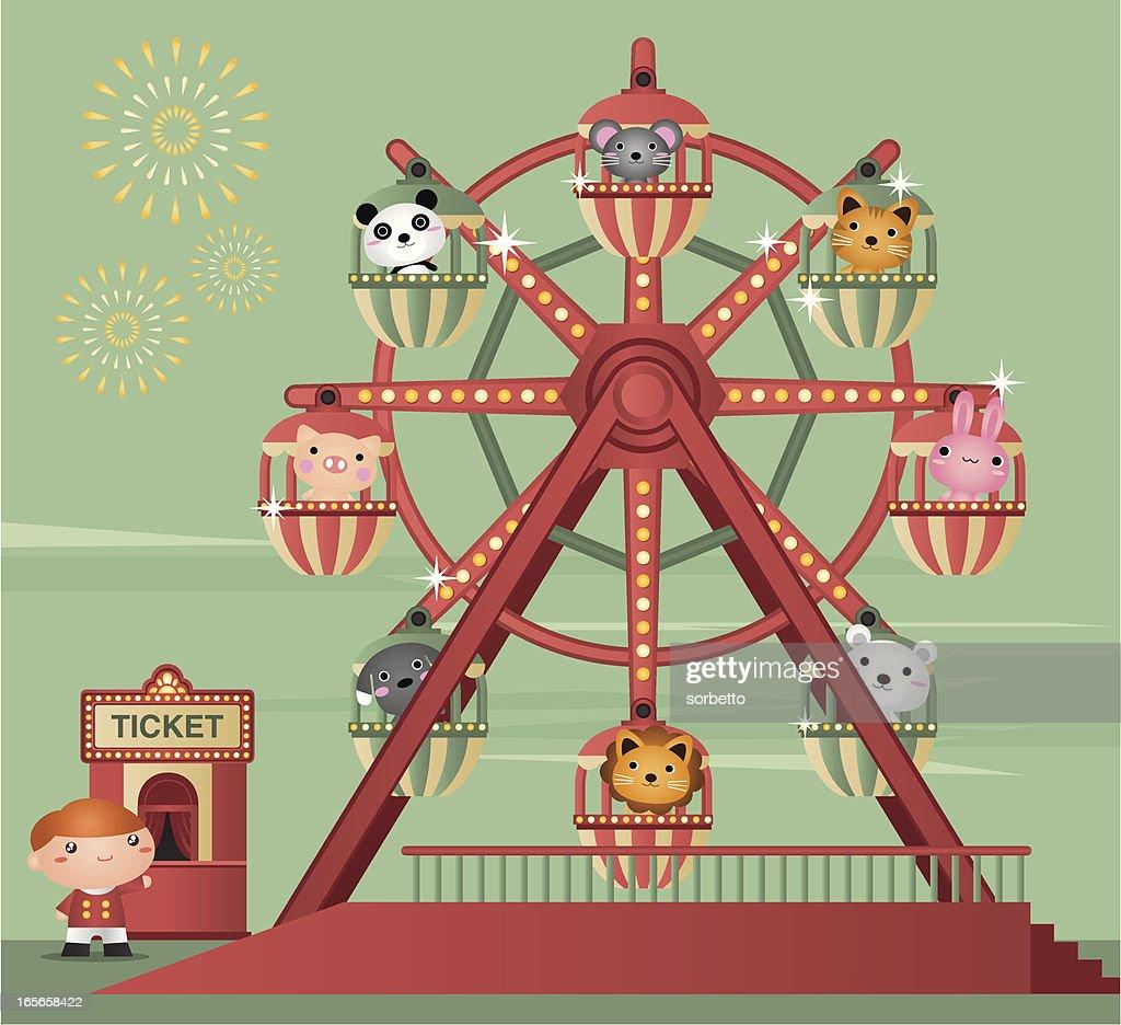Cartoon animation of zoo animals riding a Ferris wheel : stock illustration