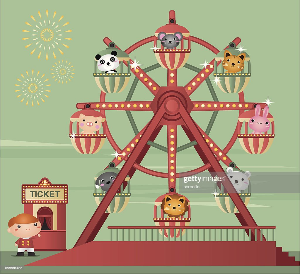 Cartoon animation of zoo animals riding a Ferris wheel